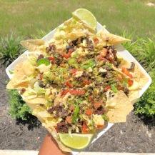 vegan nachos with black lentils, black rice, & black quinoa